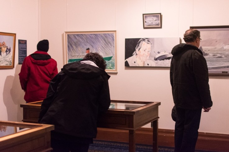People looking at exhibit